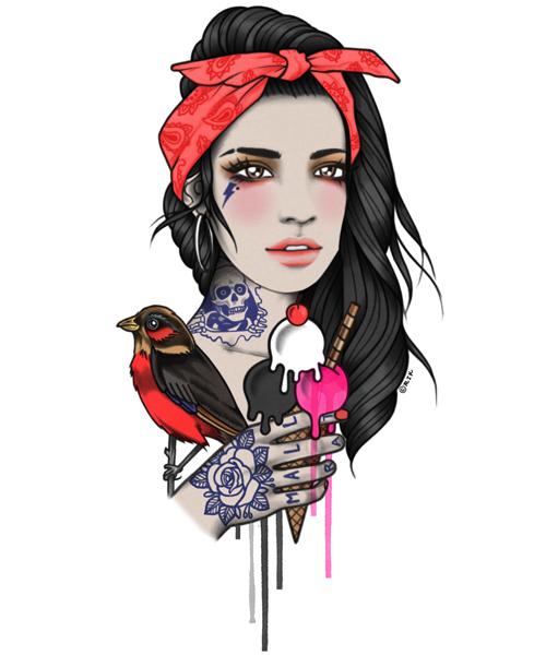 Zombie Pin Up Girl Tattoo